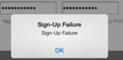 sign up failure